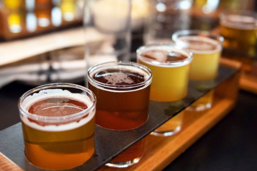 a tasting flight of beer